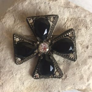 Vintage victorian cross rhinestone pin pendant